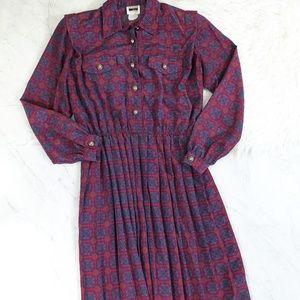 Vintage Leslie Fay Geometric Half Shirt Midi Dress